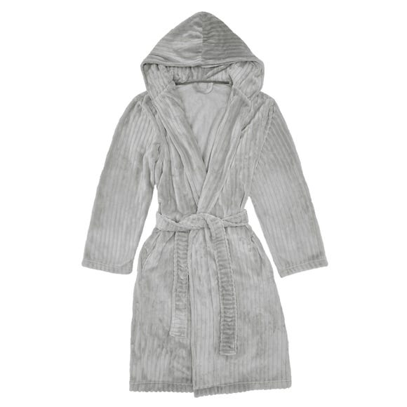 Grey Embossed Stripe Hooded Robe  undefined