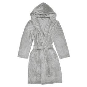 Grey Embossed Stripe Hooded Robe