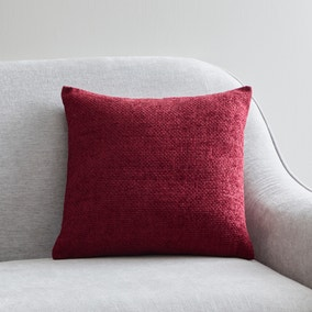 Hopsack Red Chenille Cushion