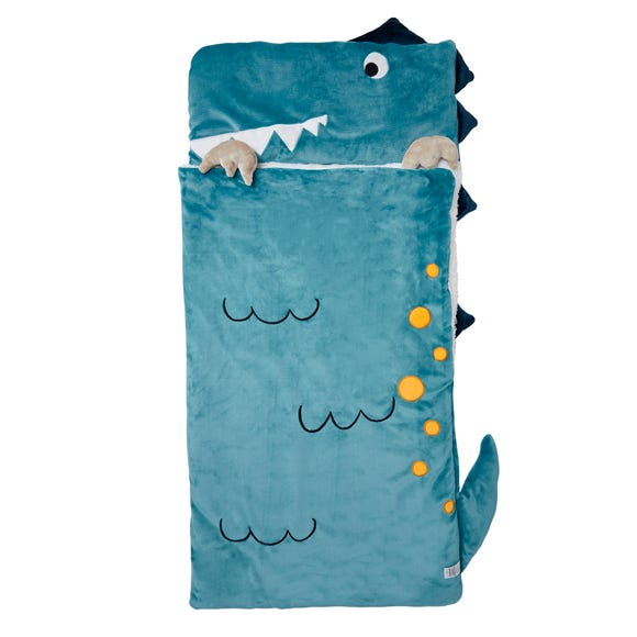 Dino Snuggle Blanket Blue