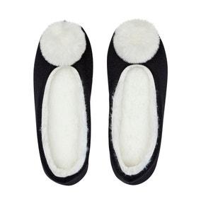 Black Faux Fur Pom Pom Slippers