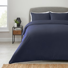 Simply Brushed Cotton Navy Duvet Cover and Pillowcase Set