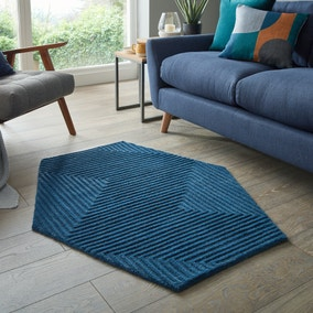 Maze Indigo Wool Hexagon Rug