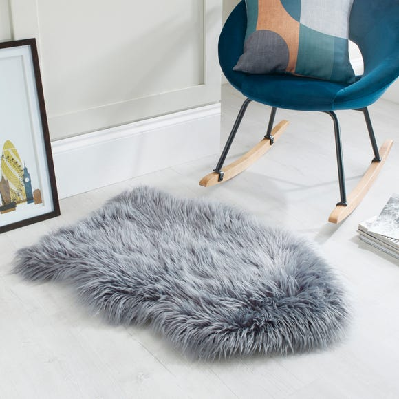 Single Pelt Faux Sheepskin Rug Charcoal (Grey)