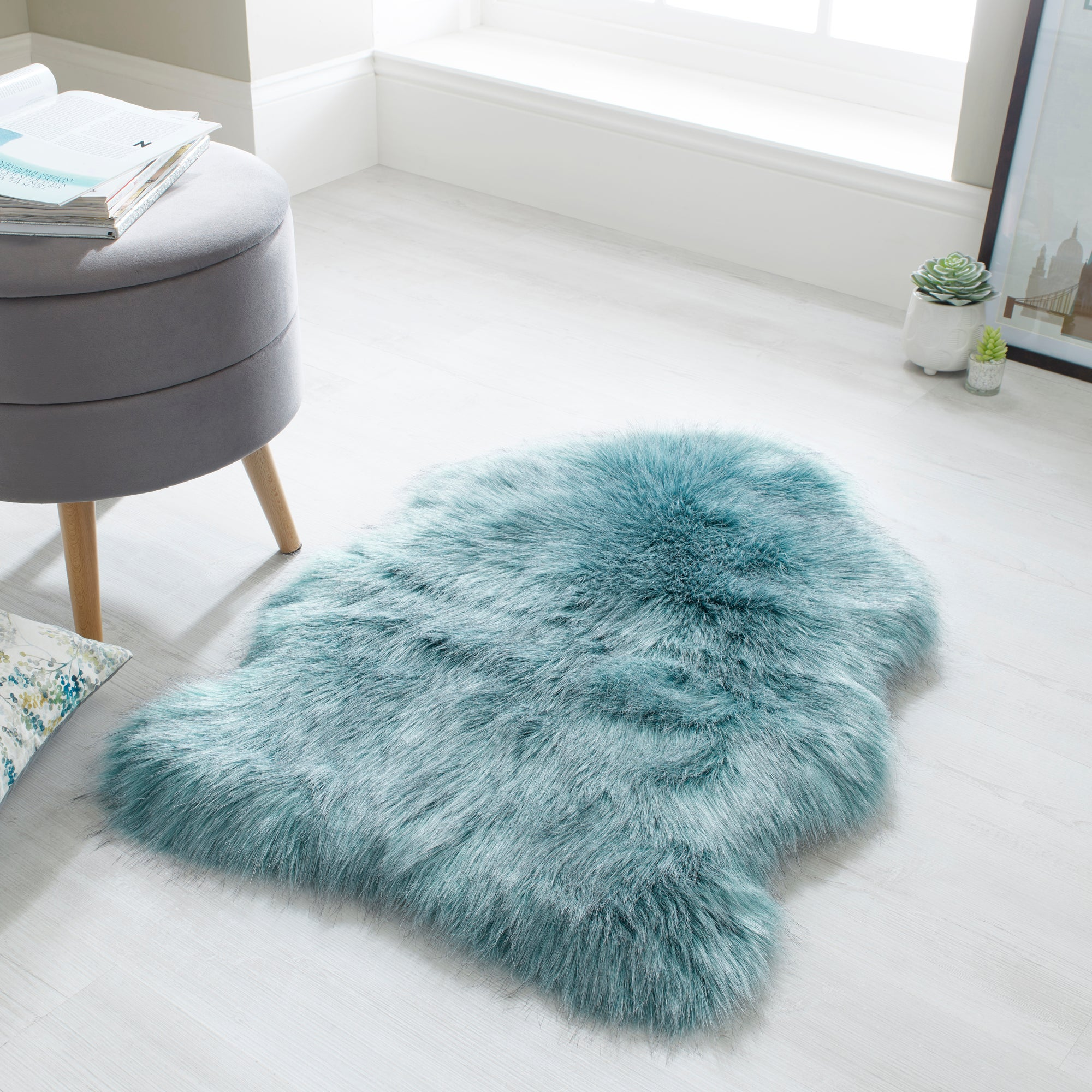 Dunelm Luxury Single Pelt Faux Fur Rug Blue