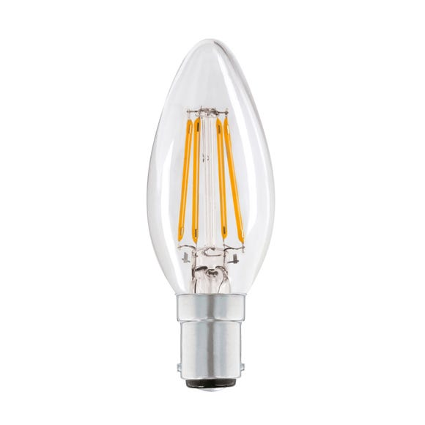 Status 4 Watt SBC LED Filament Candle Bulb Clear