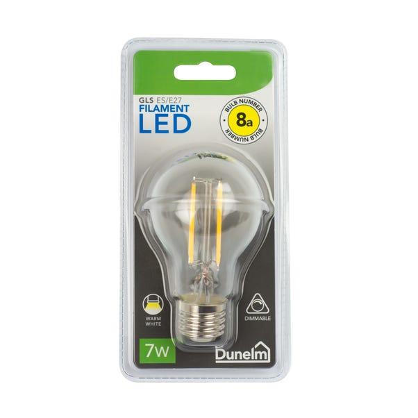 Dimmable 7 Watt ES LED Filament GLS Bulb White