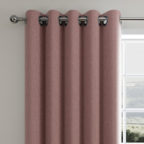 Cloudmont Chenille Dusky Pink Thermal Eyelet Curtains