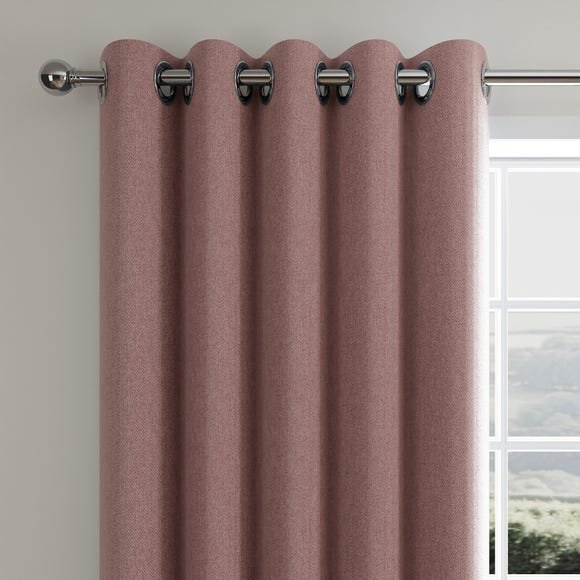 Cloudmont Chenille Dusky Pink Thermal Eyelet Curtains  undefined