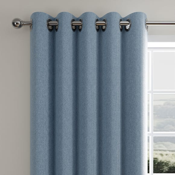 Cloudmont Chenille Ashley Blue Thermal Eyelet Curtains  undefined