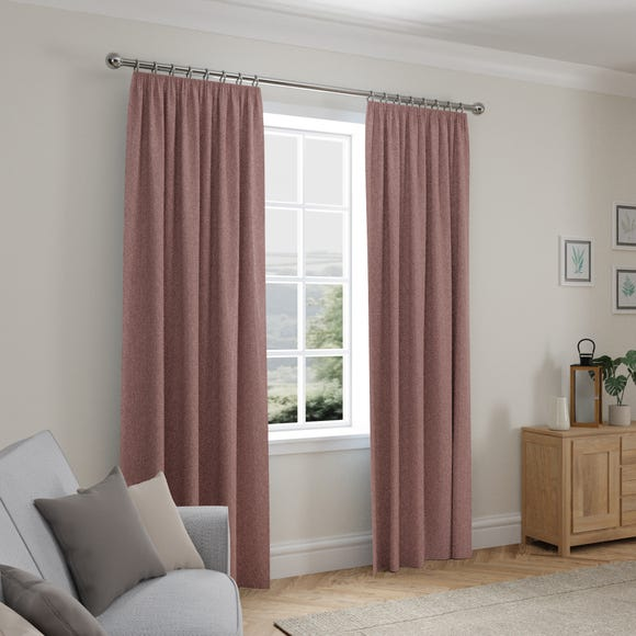 Cloudmont Chenille Dusky Pink Thermal Pencil Pleat Curtains  undefined