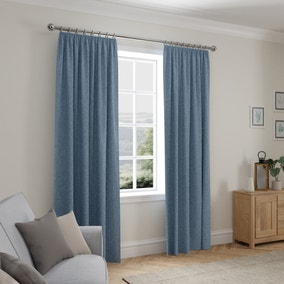 Cloudmont Chenille Ashley Blue Thermal Pencil Pleat Curtains