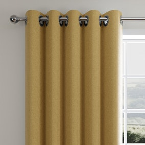 Cloudmont Chenille Ochre Thermal Eyelet Curtains