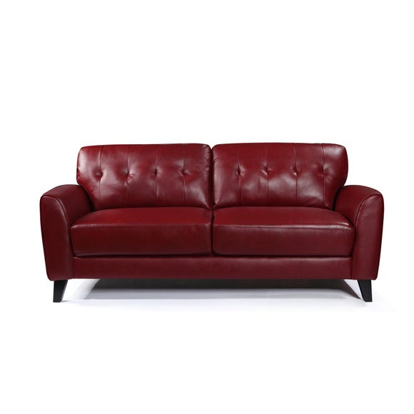 Astrid PU Leather 3 Seater Sofa Cranberry (Red)