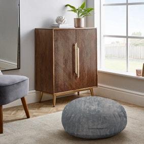 Crushed Velvet Silver Floor Cushion