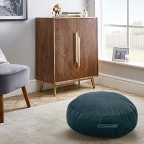 Shiny Velour Blue Floor Cushion