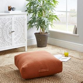 Casual Slub Butterscotch Floor Cushion
