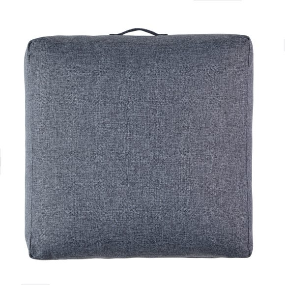 Linen Look Charcoal Slub Floor Cushion Charcoal