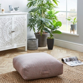 Linen Look Multicoloured Slub Floor Cushion