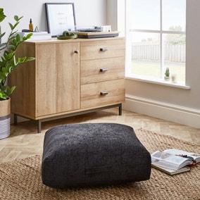 Heavy Chenille Black Floor Cushion