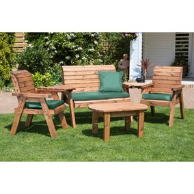 Charles Taylor 4 Seater Wooden Conversation Set with Green Seat Pads