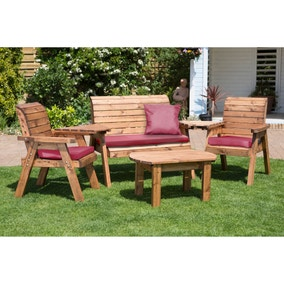 Charles Taylor 4 Seater Wooden Conversation Set with Burgundy Seat Pads