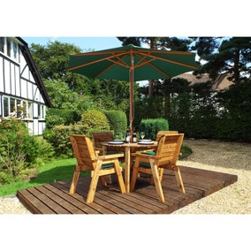 Charles Taylor 4 Seater Wooden Round Dining Set with Green Seat Pads and Parasol