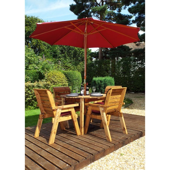 Charles Taylor 4 Seater Wooden Round Dining Set with Burgundy Seat Pads and Parasol