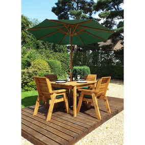 Charles Taylor 4 Seater Wooden Square Dining Set with Green Seat Pads and Parasol
