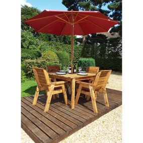 Charles Taylor 4 Seater Wooden Square Dining Set with Burgundy Seat Pads and Parasol