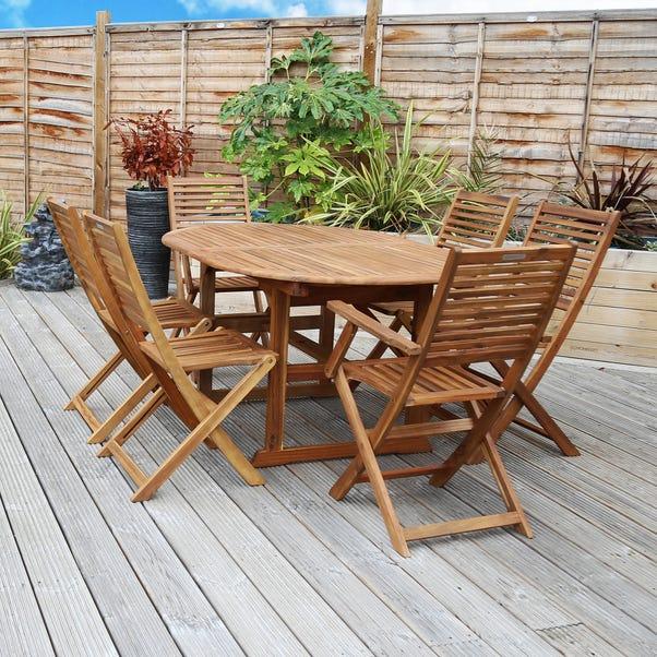 Acacia 6 Seater Extendable Dining Set Natural