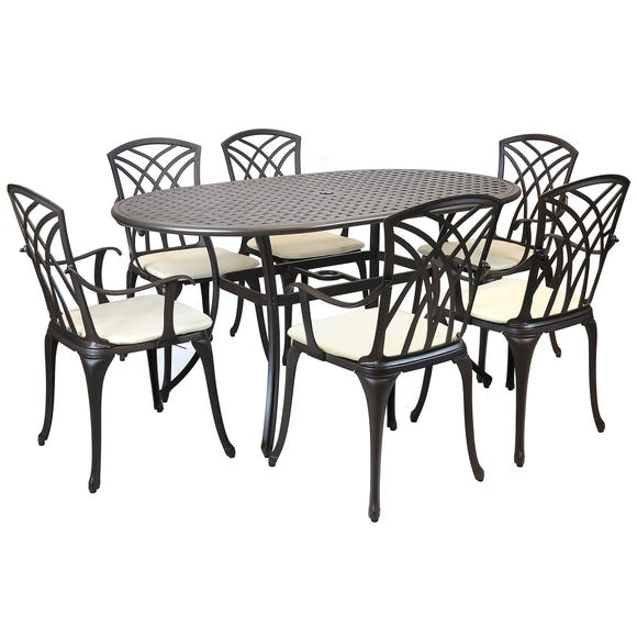 Charles Bentley Black and Bronze 6 Seater Oval Dining Set Black