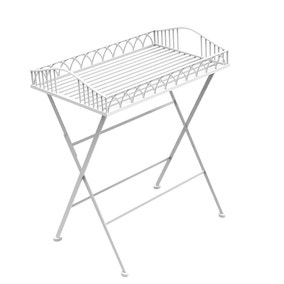 Charles Bentley Foldable Wrought Iron White Butler Tray