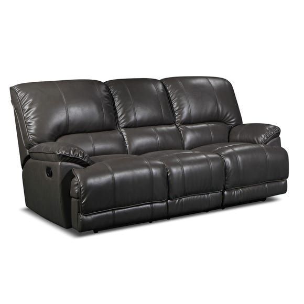 Pippa PU Leather Reclining 3 Seater Sofa Grey