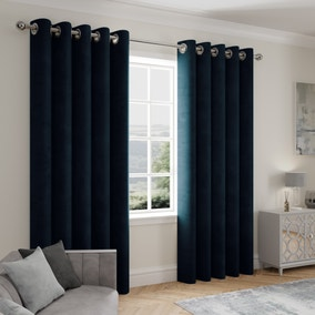 Stellar Thermal Navy Eyelet Curtains