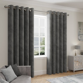 Stellar Thermal Charcoal Eyelet Curtains