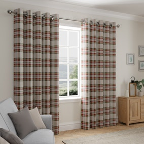 Albany Check Red Thermal Eyelet Curtains