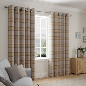 Albany Check Ochre Thermal Eyelet Curtains