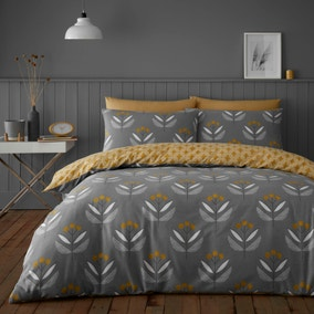 Elements Asa Ochre 100% Brushed Cotton Reversible Duvet Cover and Pillowcase Set