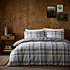 Albany Grey 100% Brushed Cotton Reversible Duvet Cover and Pillowcase Set Grey undefined