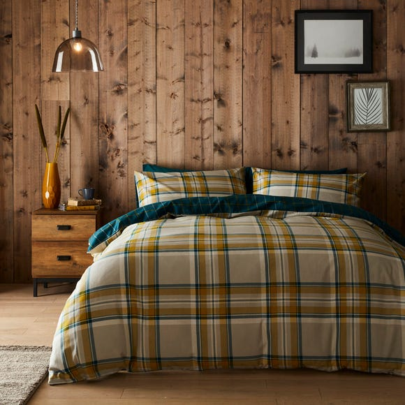 Imperfect Jack Teal 100% Brushed Cotton Reversible Duvet Cover and Pillowcase Set Teal (Blue) undefined