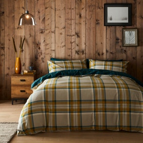 Imperfect Jack Teal 100% Brushed Cotton Reversible Duvet Cover and Pillowcase Set