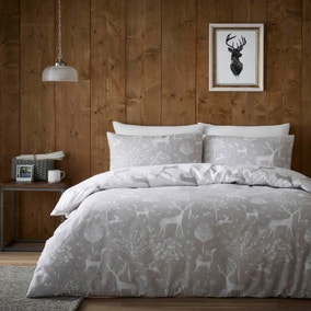 Hartley Grey 100% Brushed Cotton Reversible Duvet Cover and Pillowcase Set