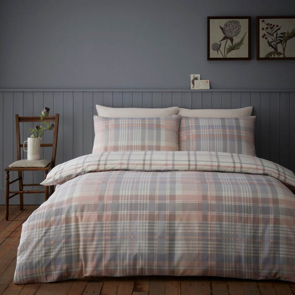 Neve Blush 100% Brushed Cotton Reversible Duvet Cover and Pillowcase Set  undefined