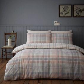 Neve Blush 100% Brushed Cotton Reversible Duvet Cover and Pillowcase Set