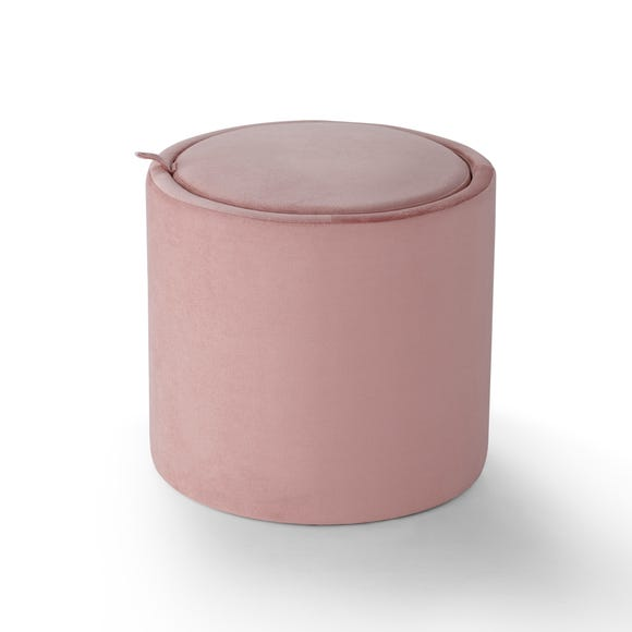 Josie Velvet Storage Table Stool - Blush Blush