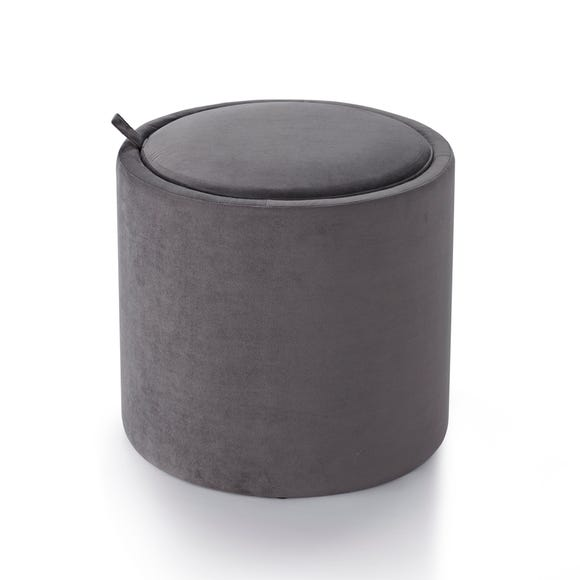 Josie Velvet Storage Table Stool - Charcoal Charcoal