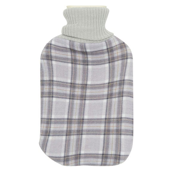 Knitted Check Hot Water Bottle MultiColoured