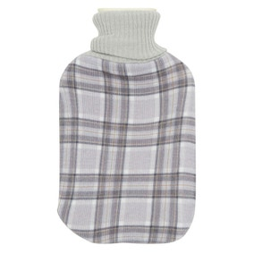 Knitted Check Hot Water Bottle
