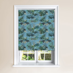 Periwinkle Jungle Blackout Roller Blind